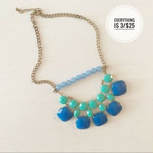 Teal Blue Gold Chain Chunky Necklace 10in